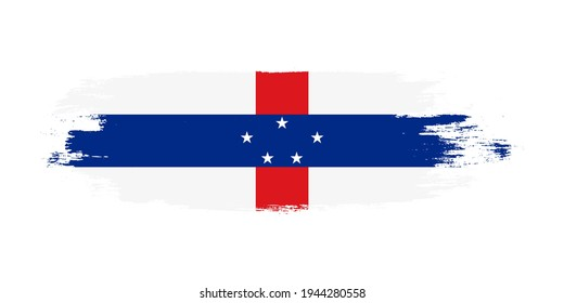 Brush painted national flag of Netherlands Antilles country isolated on white with design element in texture style