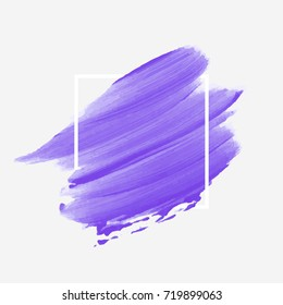 Brush painted textured watercolor art abstract background vector illustration. Acrylic stroke poster over square frame. Perfect design for headline, logo and sale banner.