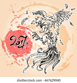 The brush painted vector illustration of a fighting rooster on a grunge inky spots background. A red rooster or a fiery cock is the symbol of the 2017 year by the Chinese calendar.