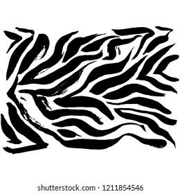Brush painted zebra pattern. Black and white stripes grunge background.