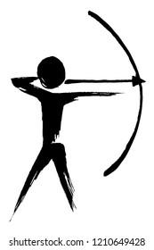Brush painting Archery silhouette