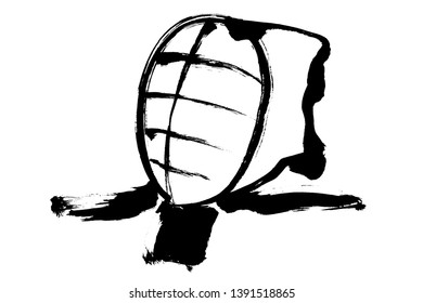 Brush painting FACE PROTECTOR For KENDO