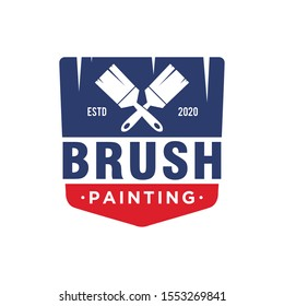 The brush painting painter service work house real estate blue red logo simple minimalist design