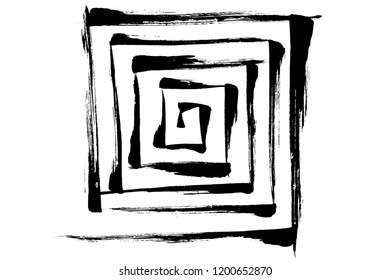 Brush painting Square spiral pattern