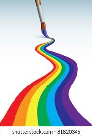 Brush  paints rainbow