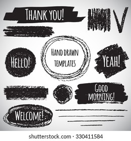 Brush or pencil drawn graphic elements collection - strokes, stripes, frames, rectangle, oval and round shapes, heart, tick. Brush strokes with rough edges and lettering - thank you, welcome etc.