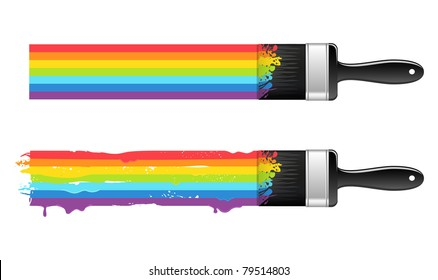 Brush with rainbow line. Abstract background. Vector illustration.