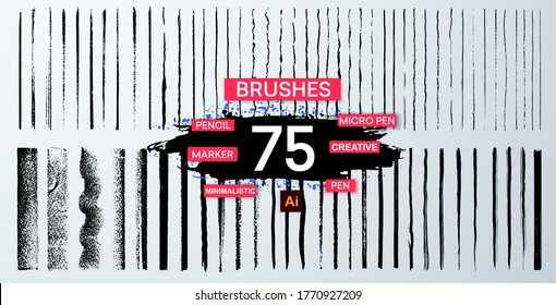 Brush set is inspired by the many lettering and calligraphy pens and markers. Lines hand drawn paint brush stroke. Vector set isolated on white. Hand drawn scribble.Black ink grunge brush stroke lines