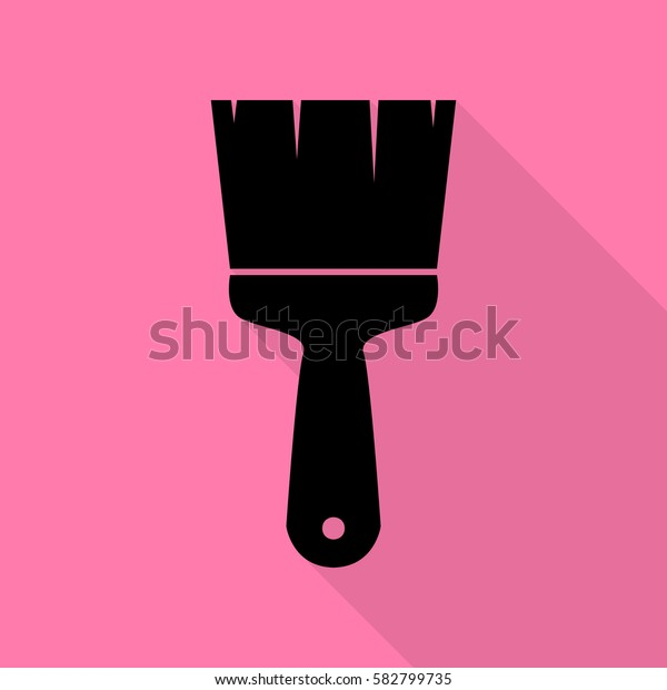 Brush sign illustration. Black icon with flat style shadow path on pink background.