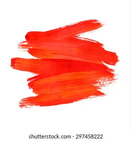 Brush stroke. Acrylic paint stain. Red stroke of the paint brush isolated on white