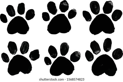Brush stroke black cat footprints design elements. Isolated on a white background.