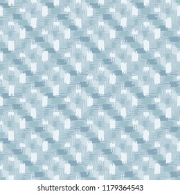 Brush Stroke Checked Motif In Tranquil Blue Tonal Palette . Seamless Pattern.