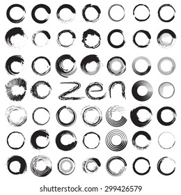 Brush stroke circles vector illustration set