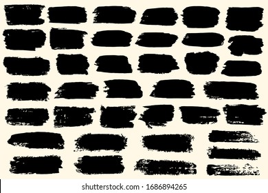 Brush stroke collection. Hand drawn black ink, paint, brushstroke smears set. Various freehand texture isolated on white background. Grunge concept design element group. Vector abstract decoration