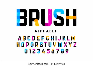 Brush stroke font, alphabet letters and numbers vector illustration