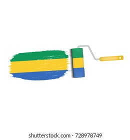 Brush Stroke With Gabon National Flag Isolated On A White Background. Vector Illustration. National Flag In Grungy Style. Brushstroke. Use For Brochures, Printed Materials, Logos, Independence Day