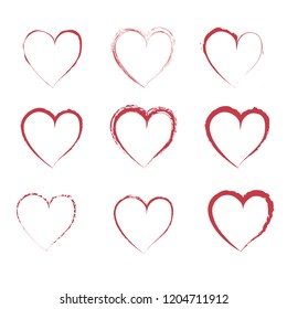 Brush Stroke Grunge Hearts Collection. Vector Illustration. Painted Red Hearts. Editable Elements for Your Design