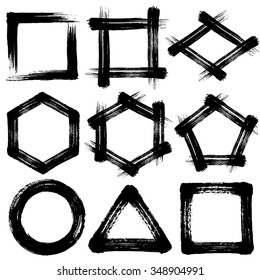 brush stroke icons. pentagon and hexagon. circle square triangle.