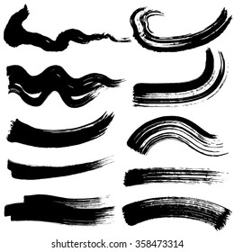 brush stroke illustrations. hand drawn shapes.