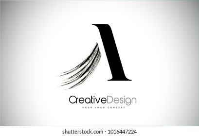 A Brush Stroke Letter Logo Design. Black Paint Logo Letter  Icon with Elegant Vector Design.