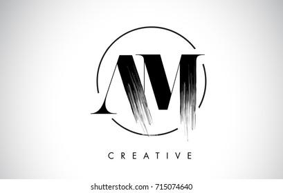 AM Brush Stroke Letter Logo Design. Black Paint Logo Leters Icon with Elegant Circle Vector Design.