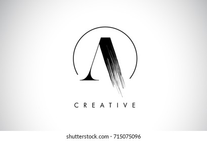 A Brush Stroke Letter Logo Design. Black Paint Logo Leters Icon with Elegant Circle Vector Design.