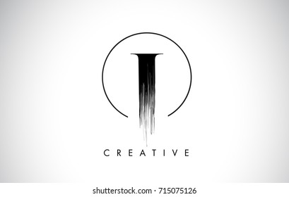 I Brush Stroke Letter Logo Design. Black Paint Logo Leters Icon with Elegant Circle Vector Design.