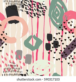 Brush stroke seamless pattern. Summer, spring bright texture for fabric, prints, cloth, postcards. Chaotic free hand composition