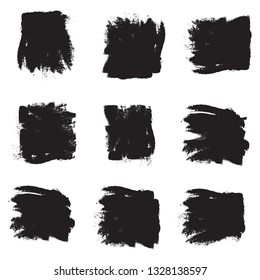 Brush stroke set isolated on white background.Collection of brush stroke for black ink paint, grunge backdrop, dirt banner, paint box, watercolor design and dirty texture. Vector illustration