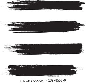 Brush stroke set isolated on white background.Collection of brush stroke for black ink paint, grunge backdrop, dirt banner,watercolor design and dirty texture.Creative art concept, vector illustration