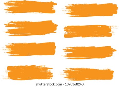 Brush stroke set isolated on white background.Collection of brush stroke for orange ink paint,grunge backdrop, dirt banner,watercolor design and dirty texture.Creative art concept, vector illustration