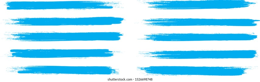 Brush stroke set isolated on white background. Collection of brush stroke for blue ink paint, grunge backdrop,dirt banner,watercolor design and dirty texture.Creative art concept, vector illustration