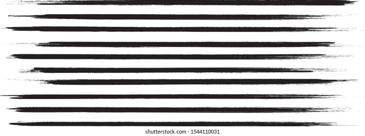 Brush stroke set isolated on white background. Collection of brush stroke for black ink paint,grunge backdrop, dirt banner,watercolor design and dirty texture.Creative art concept, vector illustration