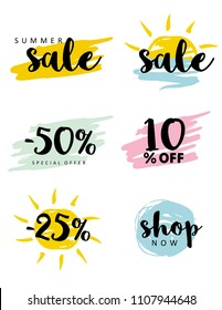 Brush Stroke Simple Discount Graphic Set. Special Offer Tags. Summer Sale. Black Letters on a Brush Yellow, Blue, Pink adn Mint Green  Layouts. White Background. Vector Discount Symbols.