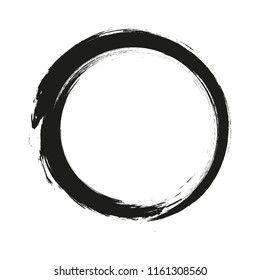 brush strokes circles of paint on white background. Ink hand drawn paint brush circle. Logo, label design element vector illustration. Black abstract circle. Frame.