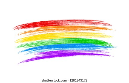 Brush strokes the colors of the rainbow isolated on white. LGBT community flag. Symbol of lesbian, gay pride, bisexual, transgender social movements. Easy to edit vector design template.