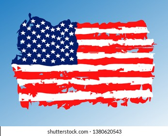 Brush strokes effect with america flag.