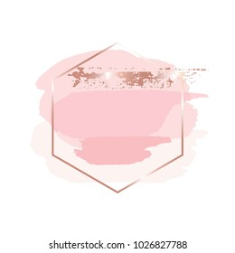 Brush strokes in gentle pink tones and rose gold hexagonal frame. Abstract vector background.