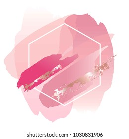Brush strokes in gentle pink tones and white hexagonal frame. Abstract vector background.
