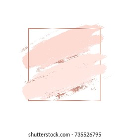 Brush strokes in gentle skin tones and rose gold square frame. Abstract vector background.