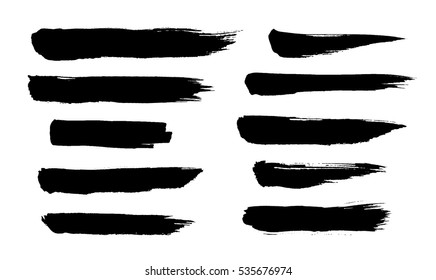 Brush strokes. Ink painting. Set collection. Vector. Black and white, monochrome. Hand drawn, paper texture