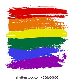 Brush strokes in LGBT flag colors isolated on white