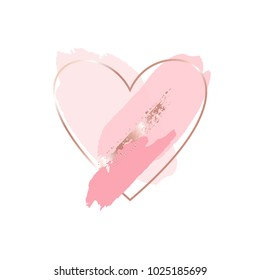 Brush strokes in pink tones and rose gold heart frame on a white background. Abstract vector background.