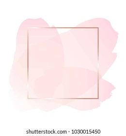 Brush strokes in rose tones and rose gold line frame on a white background. Abstract vector background.