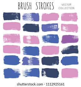 brush strokes set backgrounds. Paint line grunge collection. Set of bright grungy hand painted brush strokes isolated on white. Abstract ink texture, design elements borders or frames.
