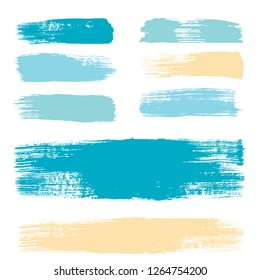 brush strokes set backgrounds. Paint lines sea grunge collection. Set of summer grungy hand painted brush strokes isolated on white. Abstract marine ink texture, design elements. Vector