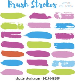 brush strokes set backgrounds. Paint line grunge collection. Set of grungy hand painted brush strokes isolated on white. Abstract ink texture, design elements borders or frames. - Vector