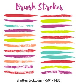 brush strokes set backgrounds. Paint line grunge collection. Set of grungy hand painted brush strokes isolated on white. design elements borders or frames, ink texture,