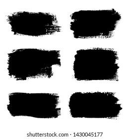 Brush strokes set, isolated white background. Black paint brush. Grunge texture stroke line. Art ink dirty design. Border artistic shape, paintbrush element. Brushstroke graphic Vector illustration