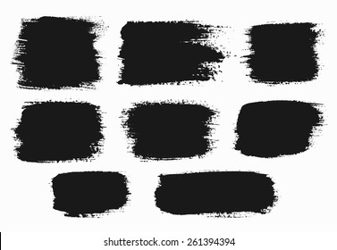 Brush Strokes Set. Paintbrush Boxes for text. Grunge design elements. Dirty texture banners. Ink splatters. Vector illustration.
